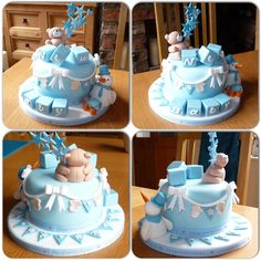 Boy's baby shower cake with bunting and bear