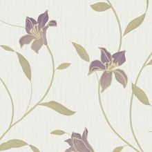 Ultra Heavyweight Vinyl Loretta  Trail - Amethyst - 33745 A luxury, Italian heavyweight vinyl from Holden Decor.This stunning floral trail has a great fabric effect textural background . Mica and metallics make this design shimmer. Co-ordinates with Loretta Texture Cream. £18.29 per roll