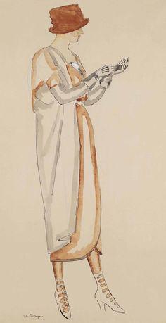 Kees van Dongen (1877-1968) Portrait d'Une Modele 1917 (71,7 x 45 cm)
