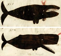 Captain Valentine Barnard's depiction of a right (or perhaps a bowhead) whale (top) and of a sperm whale (bottom), ca. 1810. Courtesy the Collection of the New-York Historical Society (PR-145 #76, detail).