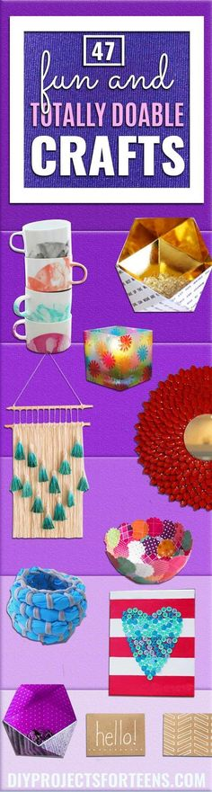Cool DIY Ideas for Fun and Easy Crafts - Awesome Pinterest DIYs that Are Not Impossible To Make - Creative Do It Yourself Craft Projects for Adults, Teens and Tweens diyprojectsfortee...