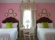 Pink and brown bedroom.