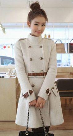 Stand Collar Women's Woolen Trench Coat - BuyTrends.com