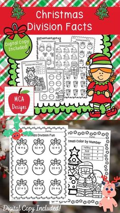 This product features various worksheets to help your students practice their basic division facts through 12. This packet is designed to be used as mini-lessons, supplements to larger lesson plans, extra practice, or as a math center. Each worksheet is accented with various Christmas themed graphics to celebrate this fun season! This product includes both a print and DIGITAL copy. The digital copy is great for DISTANCE LEARNING! #teacherspayteachers #tpt #christmas #division