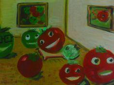 Meu trabalho para o concurso 'não mecha no meu tomate 'Galeria Pomarola'  acrílico sobre papel