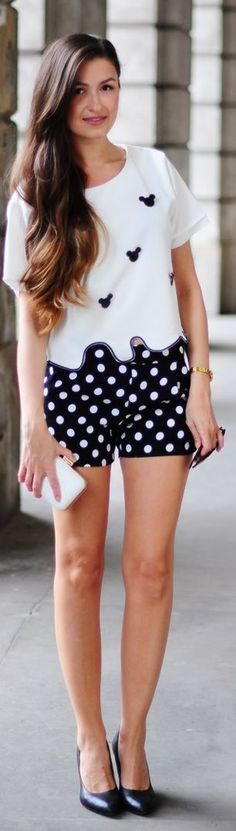 Black And White Skinny Polka Dot Shorts. Different shoe for me