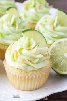 Coconut Cupcakes with Lime Buttercream Frosting The cupcake texture is buttery & soft and the coconut flavor is sweet, and slightly nutty without being overpowering Kokos Cupcakes, Coconut Cupcakes, Baking Cupcakes, Yummy Cupcakes, Cupcake Recipes, Baking Recipes, Cupcake Cakes, Dessert Recipes, White Cupcakes