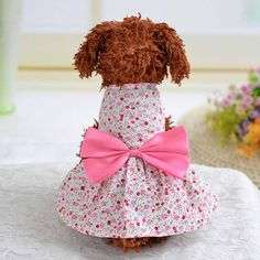 Floral Dog Dress for Small Dogs Puppy Pet Sweet Ladies Dress Big Bowknot Rural Rural Style Pet Clothes Chihuahua Clothing Wholesale1