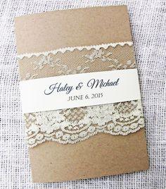 Lace Wedding Invitation Rustic Wedding by LoveofCreating on Etsy #HEPTEAM