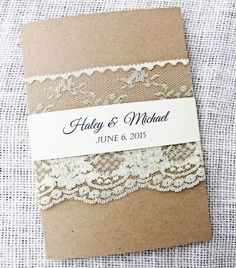 Lace Wedding Invitation Rustic Wedding by LoveofCreating on Etsy #‎HEPTEAM‬