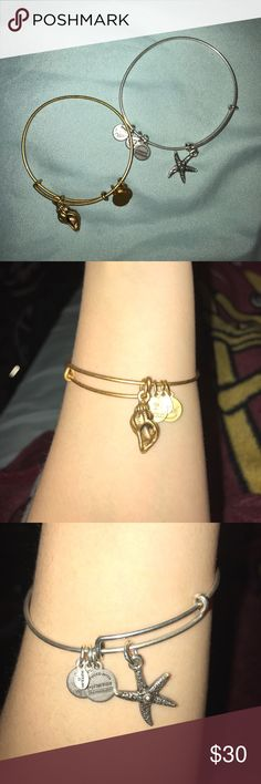 ALEX AND ANI BUNDLE 2 alex and ani bangles! gold conch charm bangle & a silver starfish charm bangle. absolutely no flaws, just selling b/c i already have beach themed alex and ani bangles. i love my bangles, help give them a new home  Alex & Ani Jewelry Bracelets