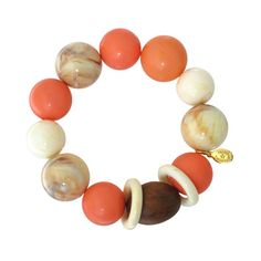 "TARINA TARANTINO Modern Mollie ""Marbles"" Wood & Bead Stretch Bracelet (72 CAD) ❤ liked on Polyvore featuring jewelry, bracelets, bracciali, marble jewelry, marble bangle, wood bead jewelry, wooden beads jewellery and tarina tarantino jewelry"