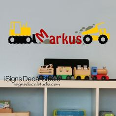 Construction Trucks Decal - Custom Name Decal - Boys Room Decal - Kids Room - Playroom Wall Decal by iSignsDecalStudio on Etsy https://www.etsy.com/listing/130572337/construction-trucks-decal-custom-name