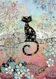 Patterned Cat - Bug Art greeting card
