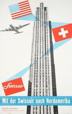 airlines. 1952 swissair poster by henri ott.