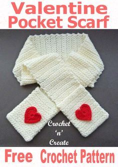 Pocket Scarf Free Crochet Pattern Valentine pocket scarf, a free crochet pattern to keep you warm and cuddly and has useful pockets to store your phone, keys or put your hands in. CLICK and scroll down the page for the pattern. Crochet Cross, Free Crochet, Knit Crochet, Irish Crochet, Crochet Scarves, Crochet Clothes, Crochet Beanie, Crochet Hats, Knitting Patterns