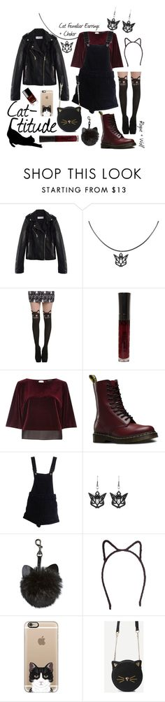 """Cat-titude"" by rogueandwolf ❤ liked on Polyvore featuring River Island, Dr. Martens, ASOS, Johnny Loves Rosie, Casetify and Chanel"