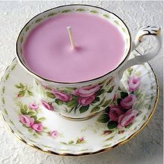 .   ~J  Lavender candle in tea cup...pretty !