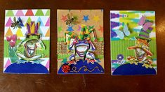 ATCs by Kae. Silly Hats, Cork Art, Artist Trading Cards, Atc, Frogs, Miniatures, Painting, Paintings, Mini Things
