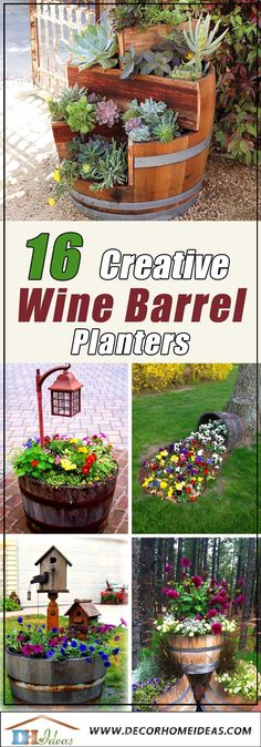 Organic Gardening Supplies Needed For Newbies 16 Easy To Make Affordable Wine Barrel Planters Barrel Garden Planters, Wine Barrel Garden, Wine Barrel Planter, Flower Planters, Diy Planters, Driftwood Planters, Decorative Planters, Gardening For Beginners, Gardening Tips
