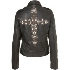 Cross Embroidered Biker Jacket ($360) ❤ liked on Polyvore