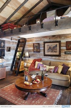 Log Cabin Loft Apartment...everything except the glass encasement for the rail