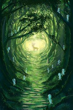 Princess Mononoke Studio Ghibli Miyazaki favourites by ArtsyMaria on DeviantArt Studio Ghibli Films, Art Studio Ghibli, Totoro, Hayao Miyazaki, Mononoke Forest, Studio Ghibli Background, Howls Moving Castle, Anime Scenery, Animes Wallpapers