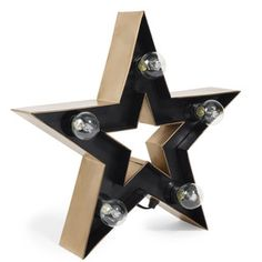 Metalen BLACKSTAGE wandlamp ster H 40 cm