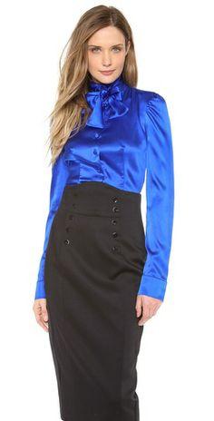 Silk Bow Blouse and high waist skirt Tie Neck Blouse, Blouse And Skirt, Blouse Dress, Dress Skirt, Hobble Skirt, Satin Bluse, Royal Blue Blouse, Beautiful Blouses, Beautiful Women