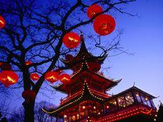 Chinese Pagoda and Tree Lanterns in Tivoli Park, Copenhagen, Denmark Photographic Print by Izzet Keribar at Art.com