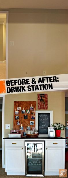 @Carmel (@ Our Fifth House) Phillips needed a place to serve drinks and snacks in her basement, so she built her own mini drink station with standard cabinets and a mini-fridge. Click through for the full how-to!