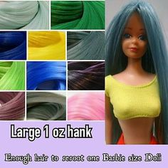 L 1oz Blue Purple Green Pink Nylon Hair Hank for Rerooting Barbie Integrity Doll
