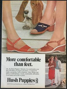 Vintage 1979 Hush Puppies shoes Magazine Ad Print-Basset Hound dog, comfortable