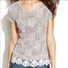 """NWT INC Macy's beige lace mesh hem top $79.50 MSRP $79.59 never work tags attached.  Size medium. Measures 27"""" long and 36"""" around bust. Made of 66% cotton and 34% rayon INC International Concepts Tops Blouses"""