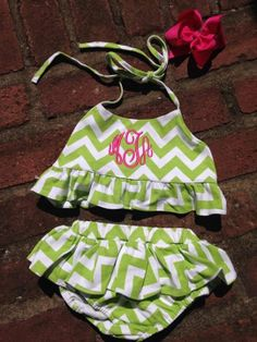 Lime Green/White Chevron Ruffled 2 Piece Bathing Suit by Lambs in Ivy Basics - S/S