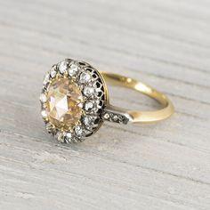 1.35 Carat Antique Edwardian Yellow-Brown Rose Cut Diamond Engagement Ring