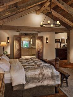 Wonderful, except for the poor animal that was killed so they could have a bed spread. Rustic Ranch House-Miller-Roodell Architects-08-1 Kindesign