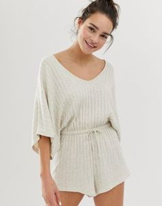 Buy ASOS DESIGN lounge ribbed short playsuit at ASOS. Get the latest trends with ASOS now. Loungewear Outfits, Loungewear Set, Maternity Spanx, Maternity Shapewear, Design Lounge, Pijamas Women, Look Fashion, Fashion Outfits, Short Playsuit