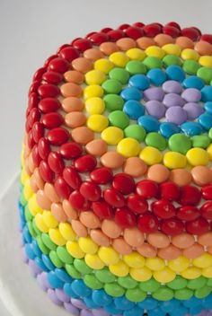 Skittles Cake - 60 Rainbow Foods for a Colorful Meal Time ... [ more at http://food.allwomenstalk.com ] SourceRainbow cakes are bang on-trend right now, but the idea of rainbow frosting is off putting for inexperienced bakers. Try regular buttercream frosting and make the rainbows out of Skittles.... #Food #Foods #Easy #Veggie #Ribbon #Salad