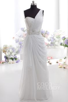 Simple Sheath-Column One Shoulder Natural Floor Length Chiffon Sleeveless Zipper Wedding Dress with Beading pr1521