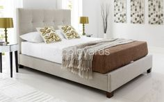 Kaydian Walkworth King Size Ottoman Bed in Oatmeal Fabric - Upholstered with high density, high resilient foams and fibres £698.00