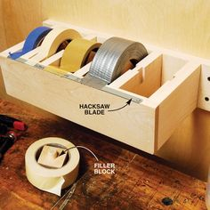 DIY tape dispenser.  Great to have in your craft closet! Instead of a hacksaw blade, what about the blade from the Saran Wrap or Aluminum Foil?