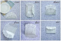 Doily envelope Come in to Paper Tales and buy these Doilies to craft your own… Envelope Diy, Envelope Tutorial, How To Make An Envelope, Doilies Crafts, Paper Doilies, Diy Paper, Paper Crafting, Arts And Crafts, Diy Crafts