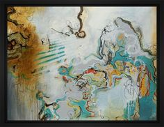 Playful Banter 28L X 22H Floater Framed Art Giclee Wrapped Canvas