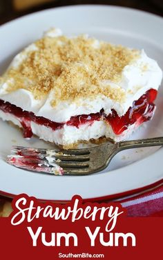 This recipe for Strawberry Yum Yum is the perfect creamy, cool layered dessert. It's great for summer, but is so easy and delicious, it's perfect any time of the year! # no bake Desserts Strawberry Yum Yum Strawberry Yum Yum Recipe, Strawberry Desserts, Summer Desserts, Easy Desserts, Summer Treats, Strawberry Delight, Recipes For Strawberries, Non Bake Desserts, Strawberry Summer