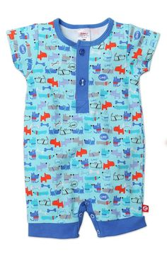 Zutano 'Le Chien' Cotton Henley Romper (Baby Boys) available at #Nordstrom