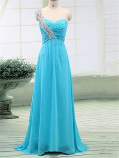 Beauty Blue One Shoulder Custom Chiffon A-Line Long Prom Dress