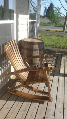 Cool 49 Awesome Diy Wine Barrel Projects Ideas That You Need To Have Wine Barrel Chairs, Whiskey Barrel Furniture, Wine Barrels, Barrel Projects, Wood Projects, Rocking Chair Plans, Barris, Bourbon Barrel, Crate And Barrel