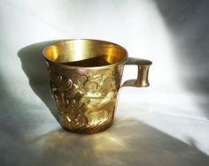 Woodland mug vintage brass handled coffee cup by cabinetocurios
