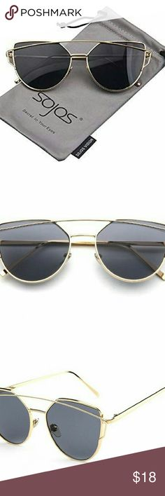 NWT Cat Eye Mirrored Flat Lenses Street Lense width 55mm Cat Eye Mirrored Flat Lenses Street Fashion Metal Frame Women Sunglasses SJ Gold/black BRAND NEW IN PACKAGING boutique  Accessories Sunglasses